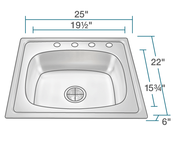 "The dimensions of MX2318T6 Single Bowl Topmount Stainless Steel Sink is 25"" x 22"" x 6"". Its minimum cabinet size is 27""."