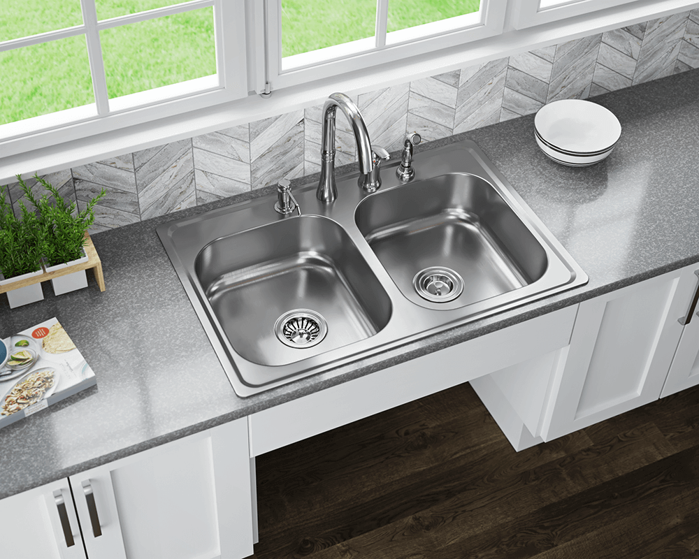 MX502T6 Lifestyle Image: 300-Grade Stainless Steel Rectangle Two Bowls Topmount Kitchen Sink