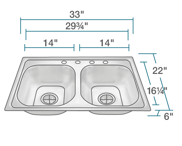 "The dimensions of MX502T6 Equal Double Bowl Topmount Stainless Steel Sink is 33"" x 22"" x 6"". Its minimum cabinet size is 33""."