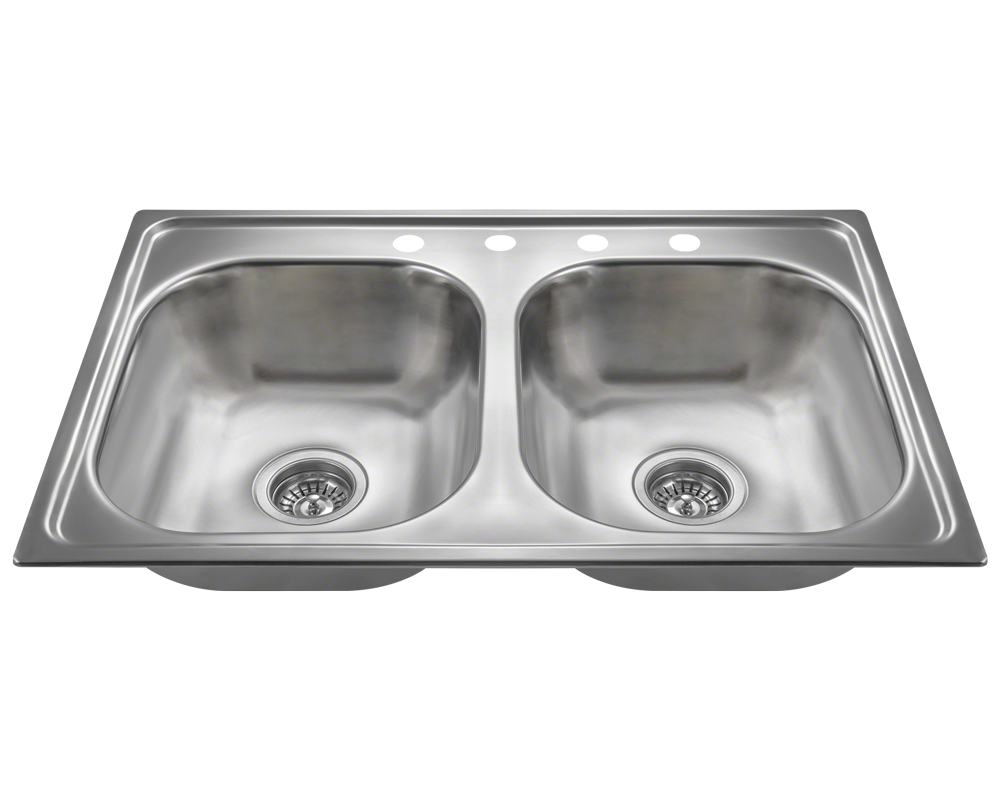 MR Direct MX502T6 Equal Double Bowl Topmount Stainless Steel Sink