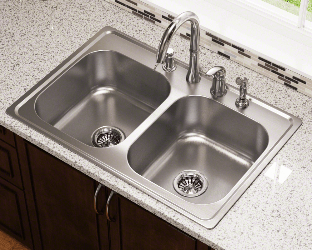MX502T8 Lifestyle Image: 300-Grade Stainless Steel Rectangle Two Bowls Topmount Kitchen Sink