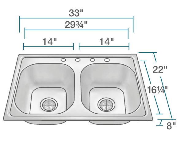 "The dimensions of MX502T8 Equal Double Bowl Topmount Stainless Steel Sink is 33"" x 22"" x 8"". Its minimum cabinet size is 33""."