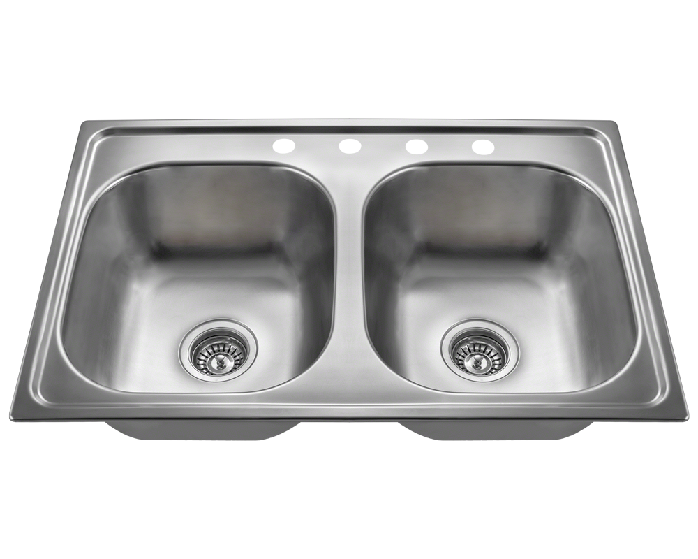 MR Direct MX502T8 Equal Double Bowl Topmount Stainless Steel Sink