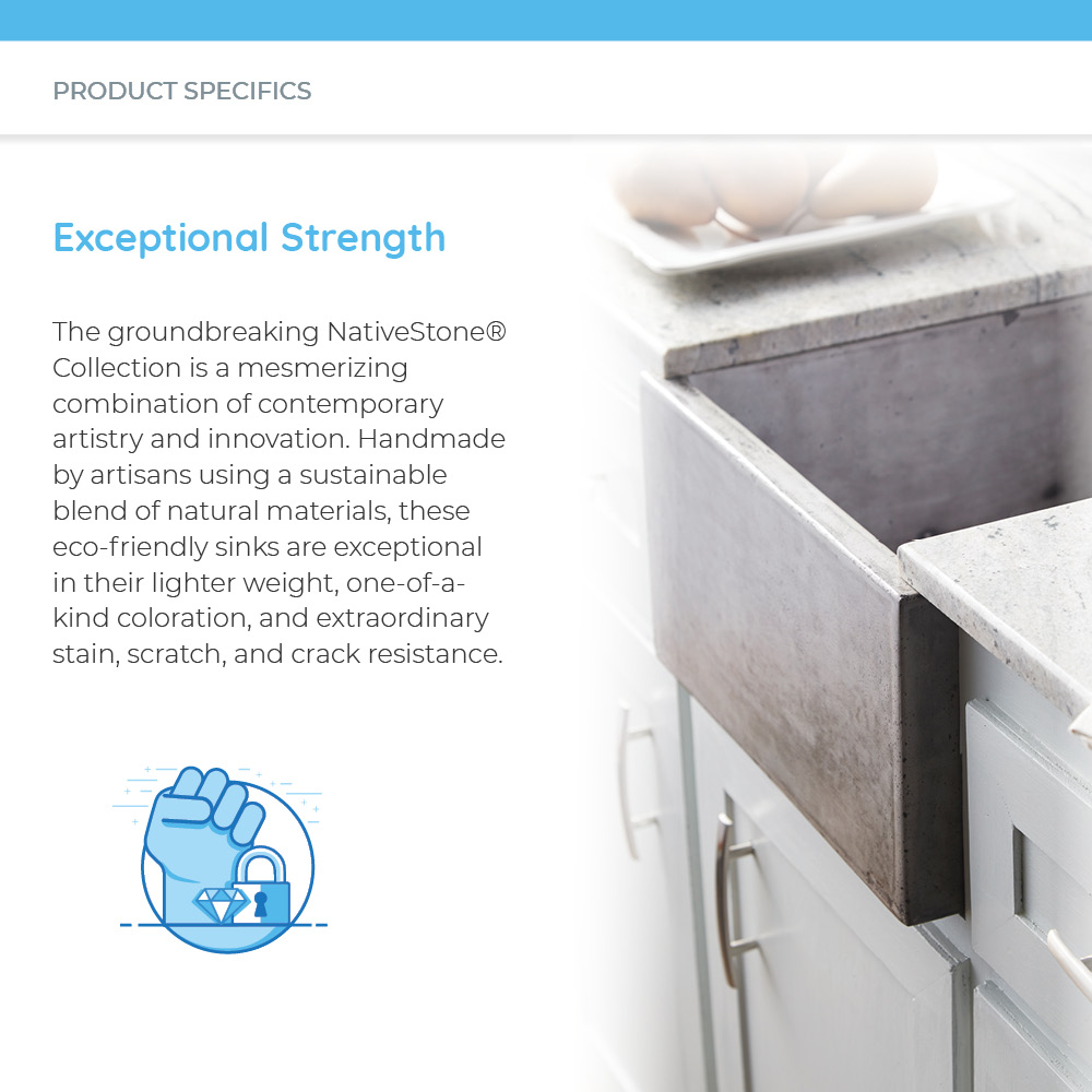 Exceptionally strong concrete kitchen sink