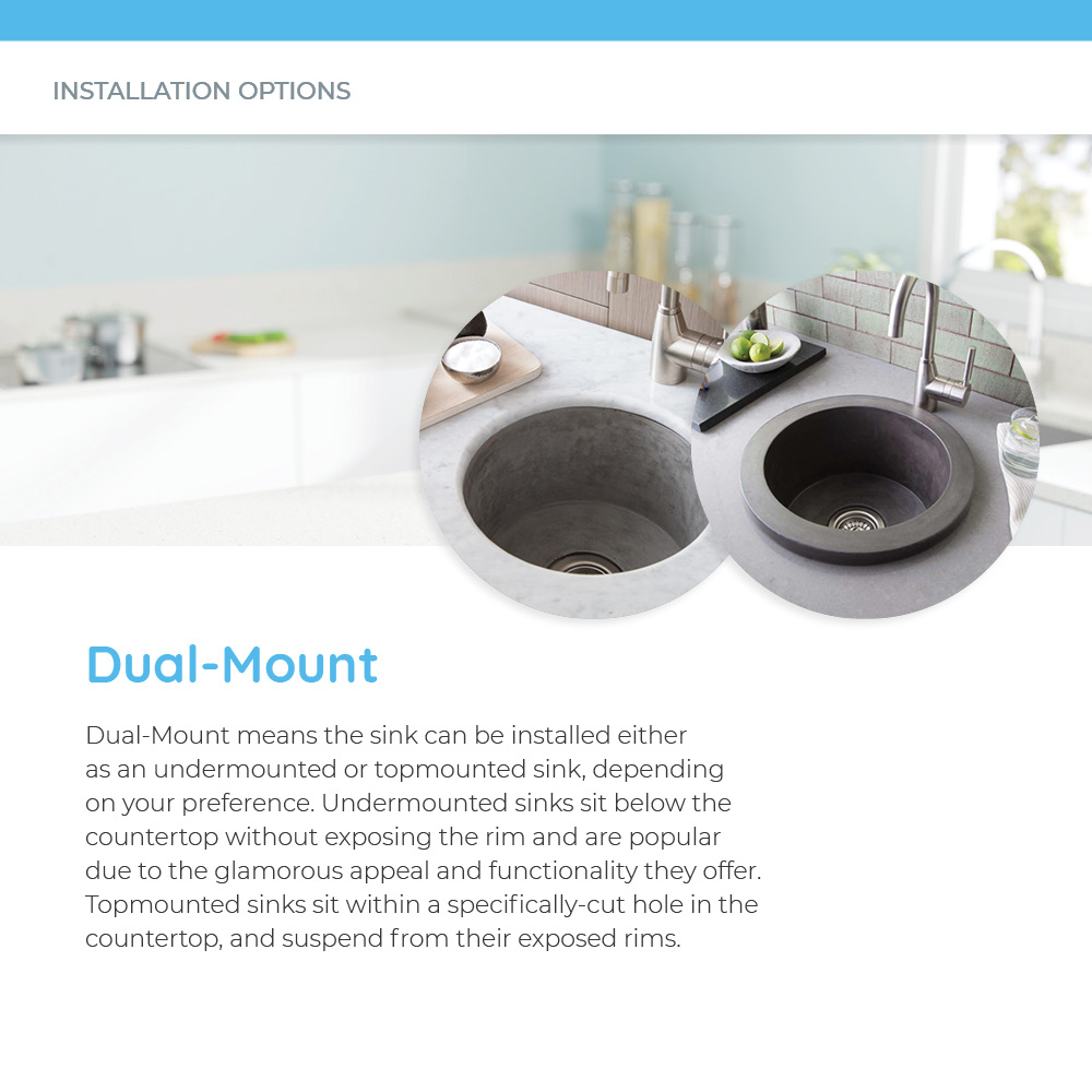 Examples of mounting options for dual-mount concrete sinks