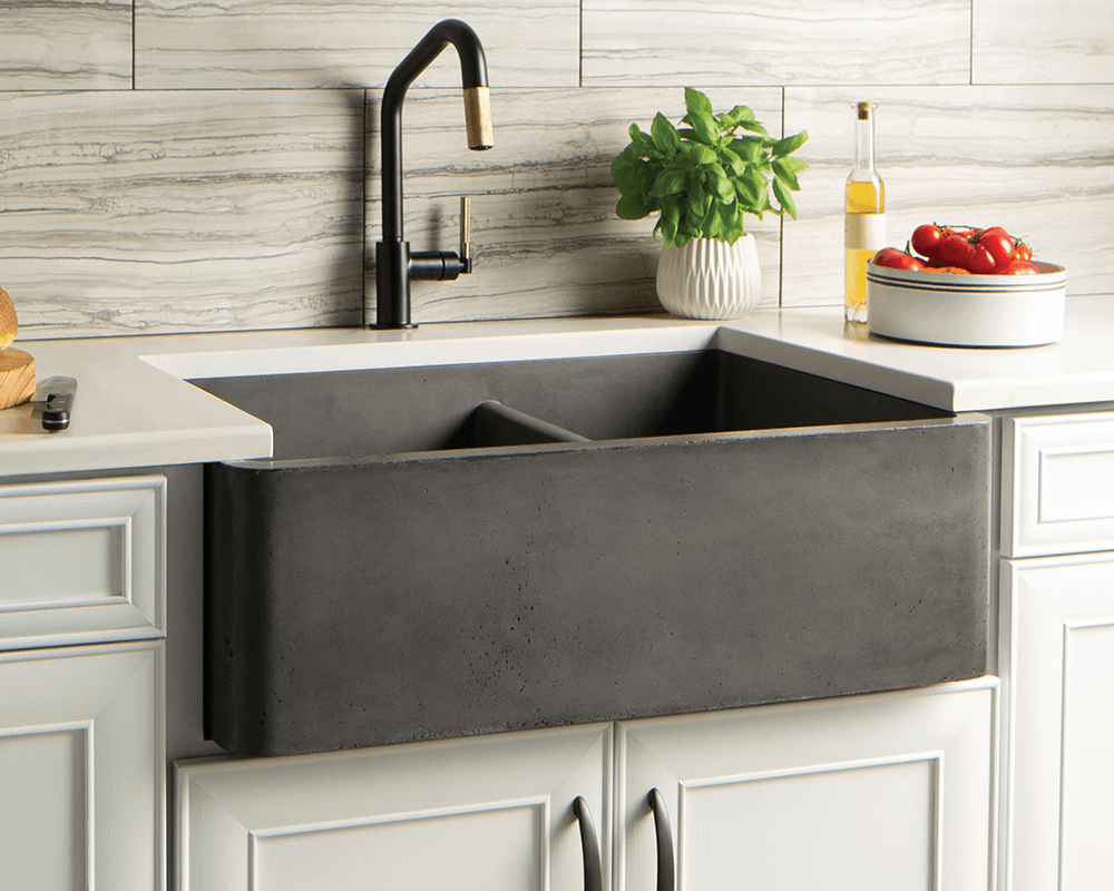 NSKD3321-S Farmhouse Double Bowl Kitchen Sink in Slate