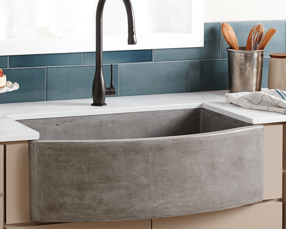 NSKQ3320-S Lifestyle Image: NativeStone /Apron Slate One Bowl Kitchen Sink