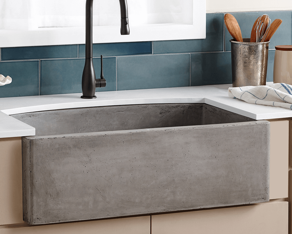 NSKQ3320-S Lifestyle Image: NativeStone /Apron One Bowl Slate Kitchen Sink