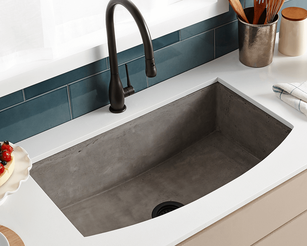 NSKQ3320-S Lifestyle Image: NativeStone Slate /Apron One Bowl Kitchen Sink