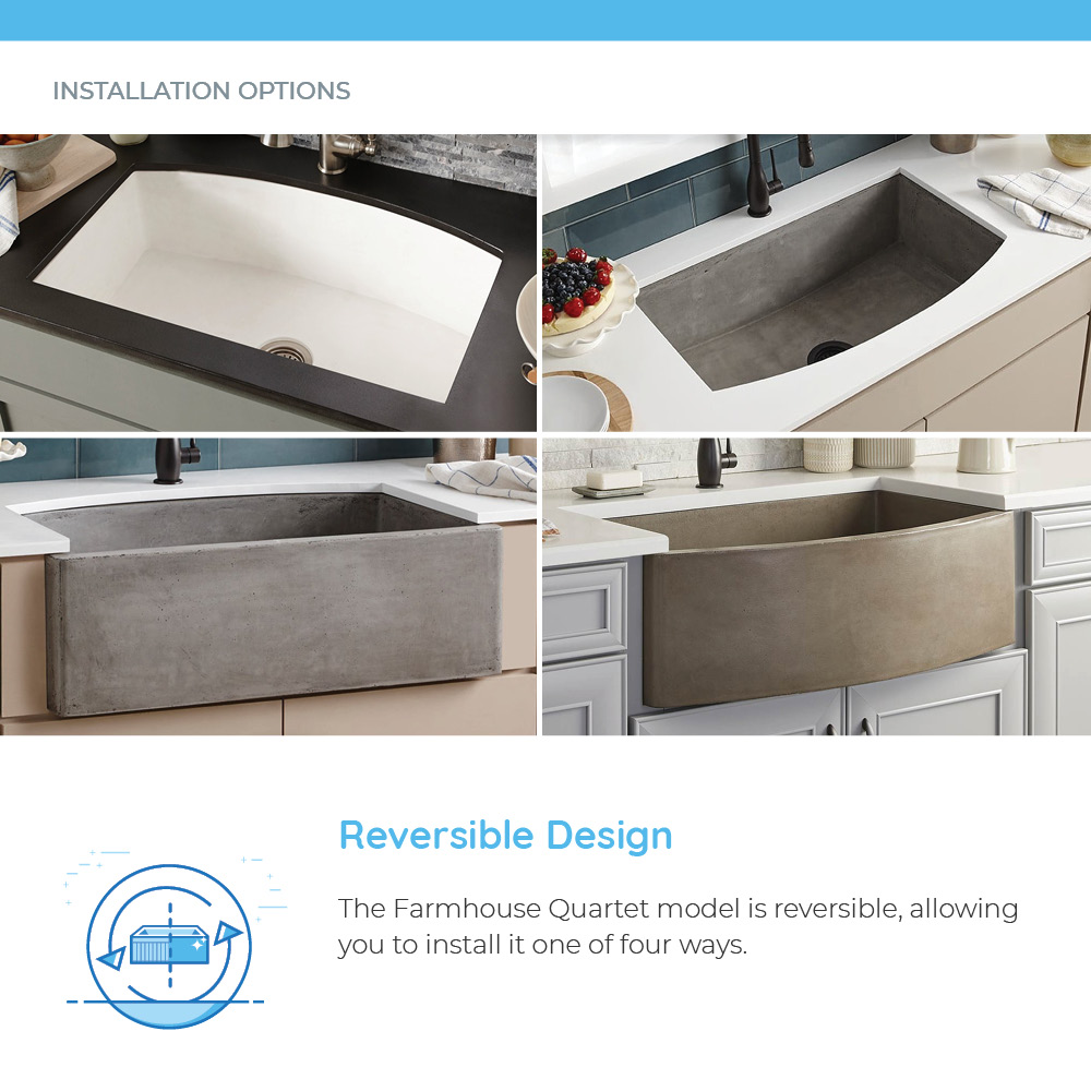 Examples of different installation options for concrete sinks