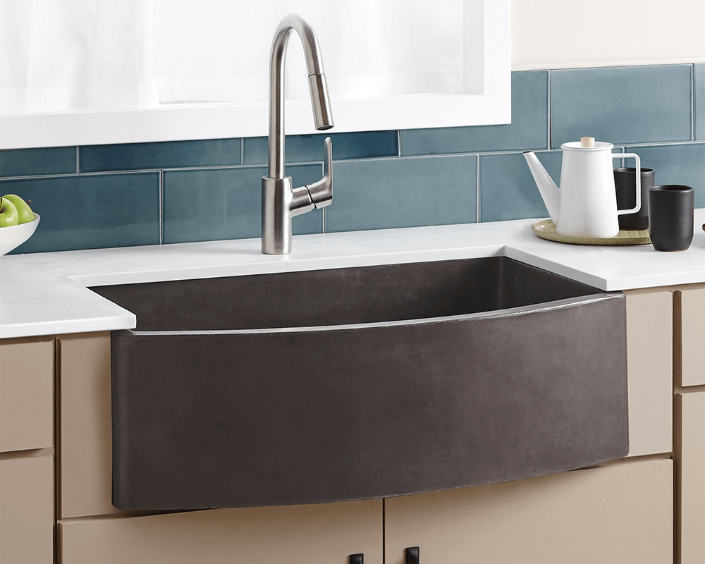 NSKQ3320-S Lifestyle Image: NativeStone Slate One Bowl /Apron Kitchen Sink