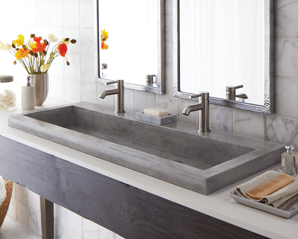 NSL4819-A Lifestyle Image: NativeStone Ash One Bowl Topmount Bathroom Sink