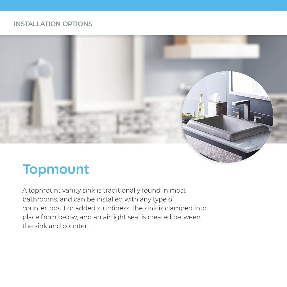 Topmount concrete bathroom sink