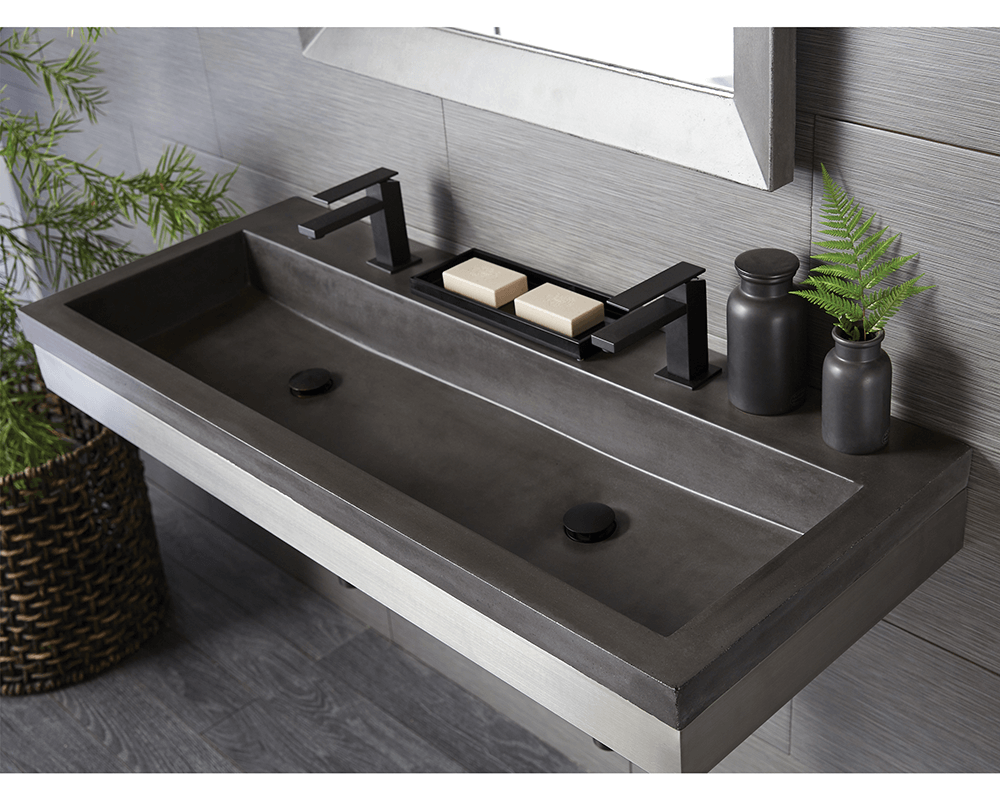 NSL4819-A Lifestyle Image: NativeStone Ash Topmount One Bowl Bathroom Sink