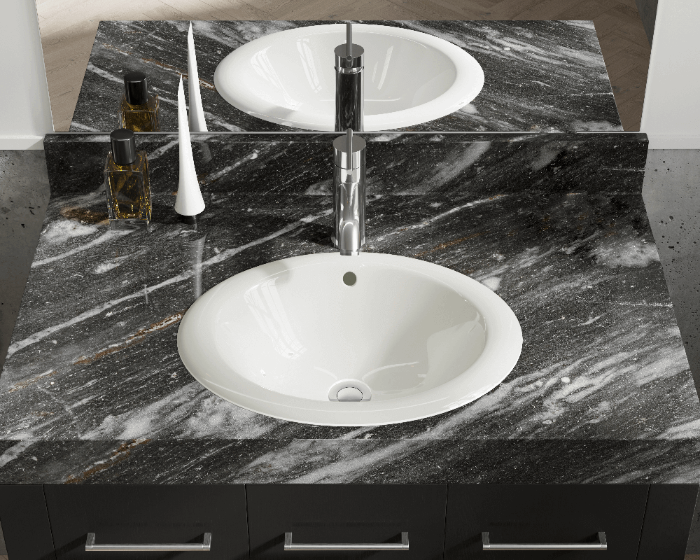 O1917-Bisque Lifestyle Image: Vitreous China Oval Topmount Bisque Bathroom Sink