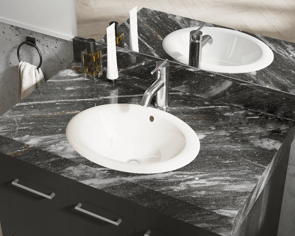 O1917-Bisque Lifestyle Image: Vitreous China Oval Bisque Topmount Bathroom Sink
