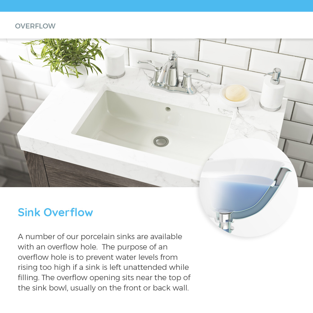 Porcelain sink with overflow hole