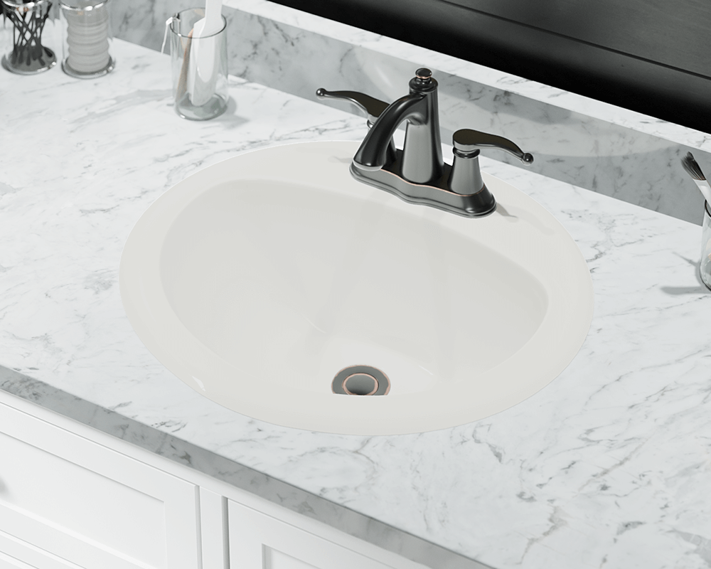O2018-Bisque Lifestyle Image: Vitreous China Oval Bisque Topmount Bathroom Sink