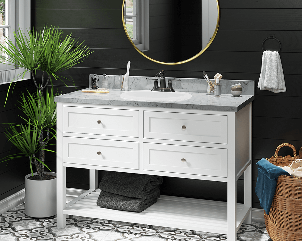 O2018-Bisque Lifestyle Image: Vitreous China Oval Topmount Bisque Bathroom Sink