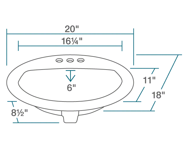 "The dimensions of O2018-Bisque Overmount Bathroom Sink is 20"" x 18"" x 8 1/2"". Its minimum cabinet size is 21""."