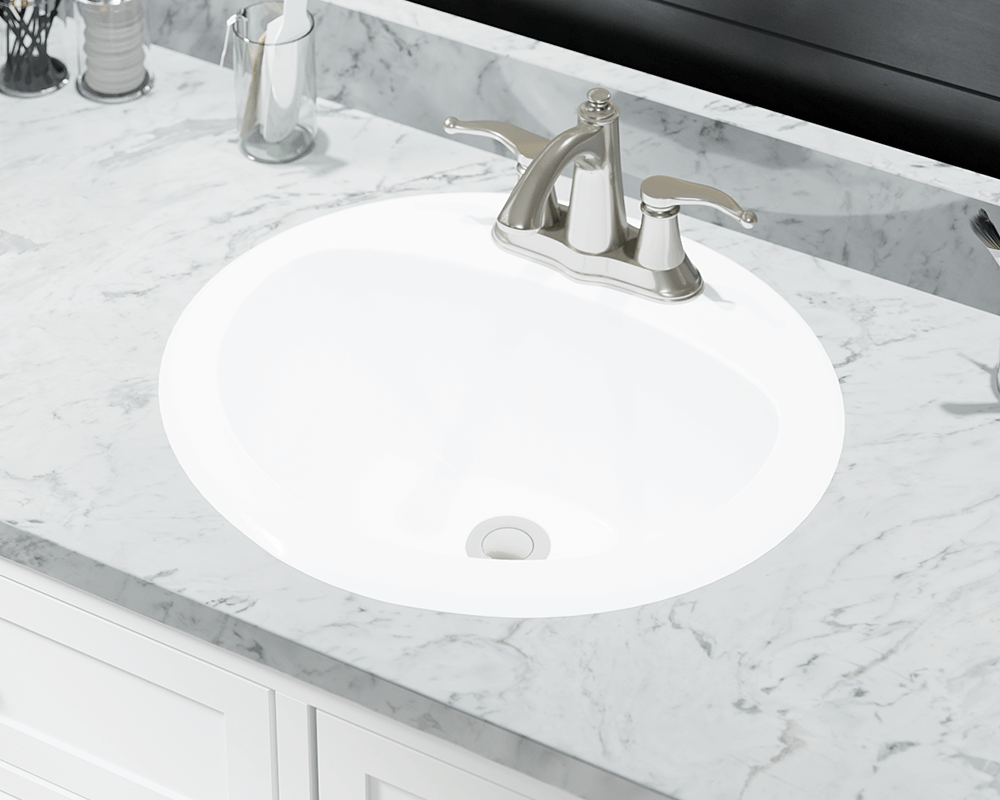 O2018 White Overmount Bathroom Sink