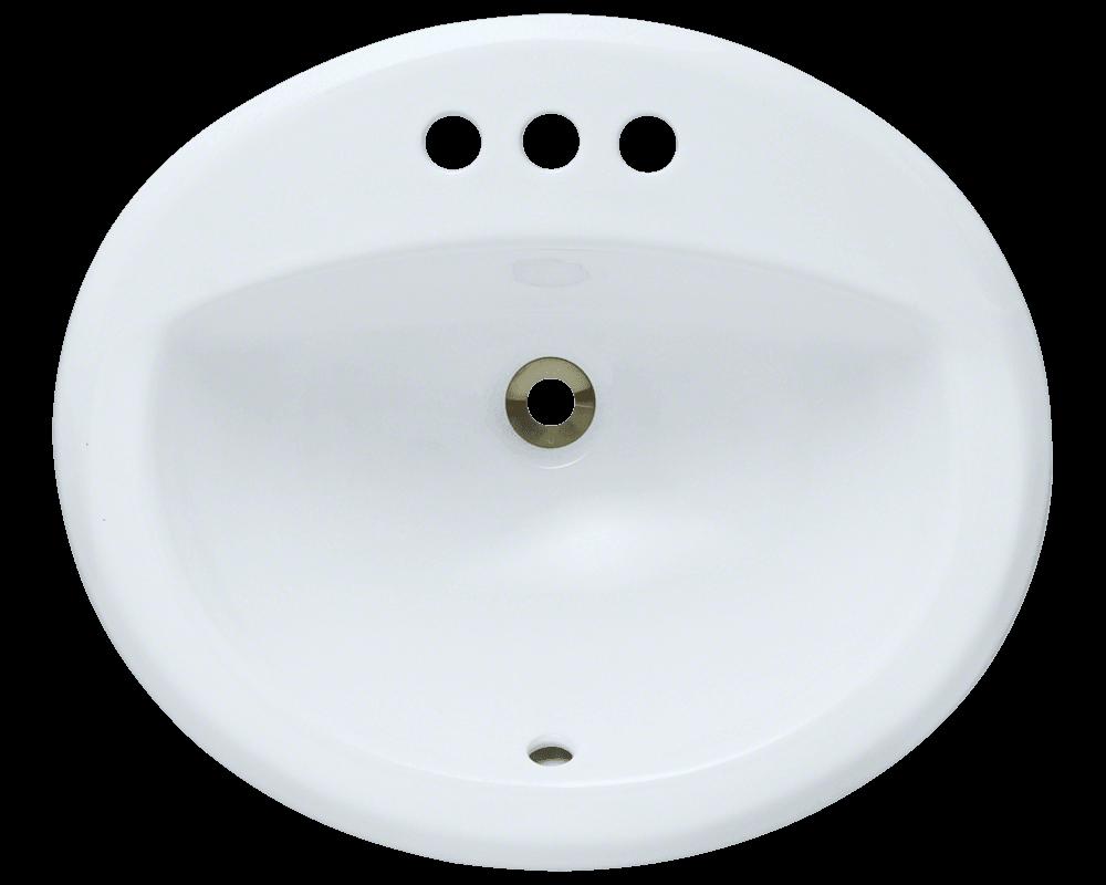 O2018 White Overmount Bathroom Sink