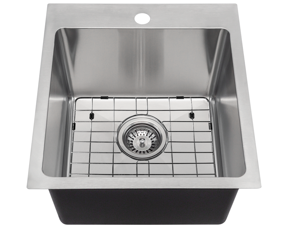 T1717 Alt Image: 304-Grade Stainless Steel Square Topmount One Bowl Kitchen Sink