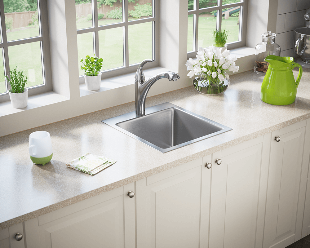 T1717 Lifestyle Image: 304-Grade Stainless Steel Square Topmount One Bowl Kitchen Sink