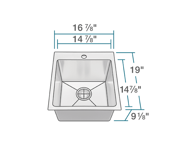 "The dimensions of T1717 Topmount 3/4"" Radius Stainless Steel Sink is 16 7/8"" x 19"" x 9 1/8"". Its minimum cabinet size is 18""."