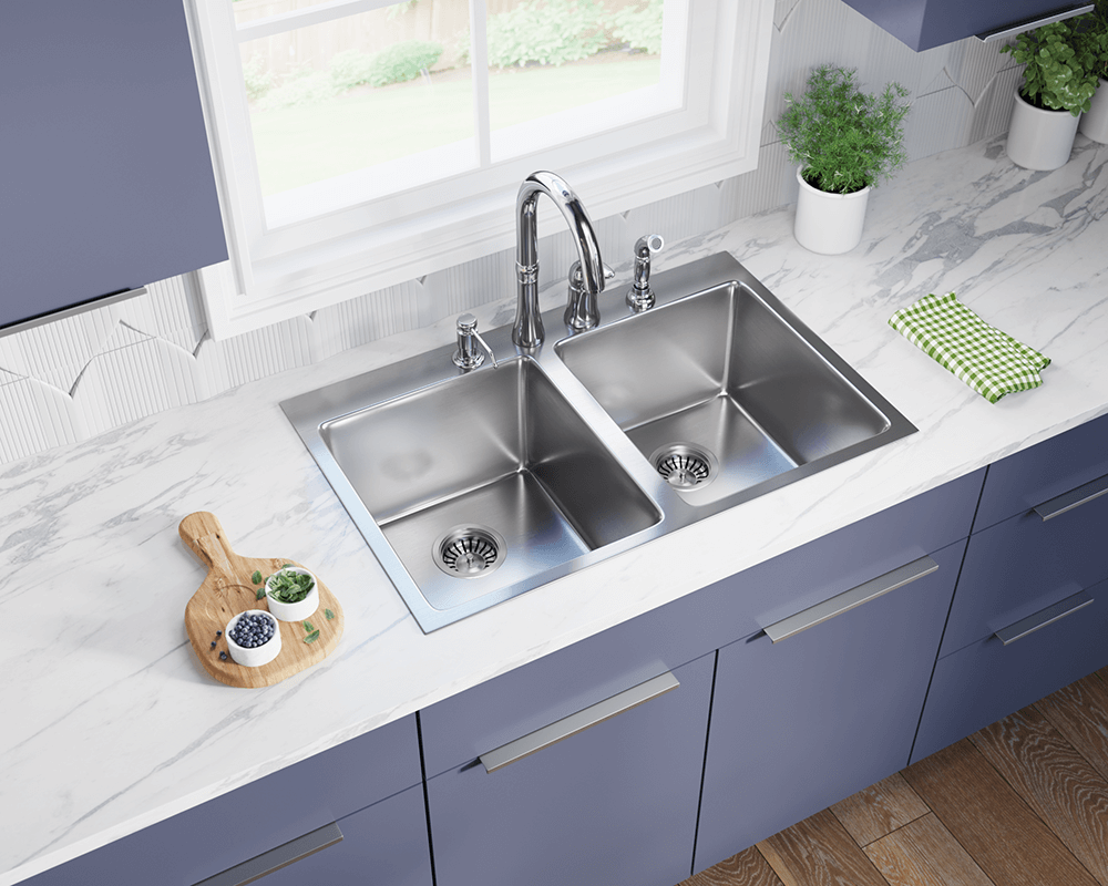 T3120D Lifestyle Image: 304-Grade Stainless Steel Square Two Bowls Topmount Kitchen Sink