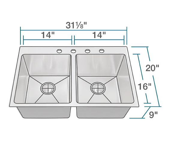 "The dimensions of T3120D Topmount 3/4"" Radius Stainless Steel Sink is 31 1/8"" x 20"" x 9"". Its minimum cabinet size is 33""."