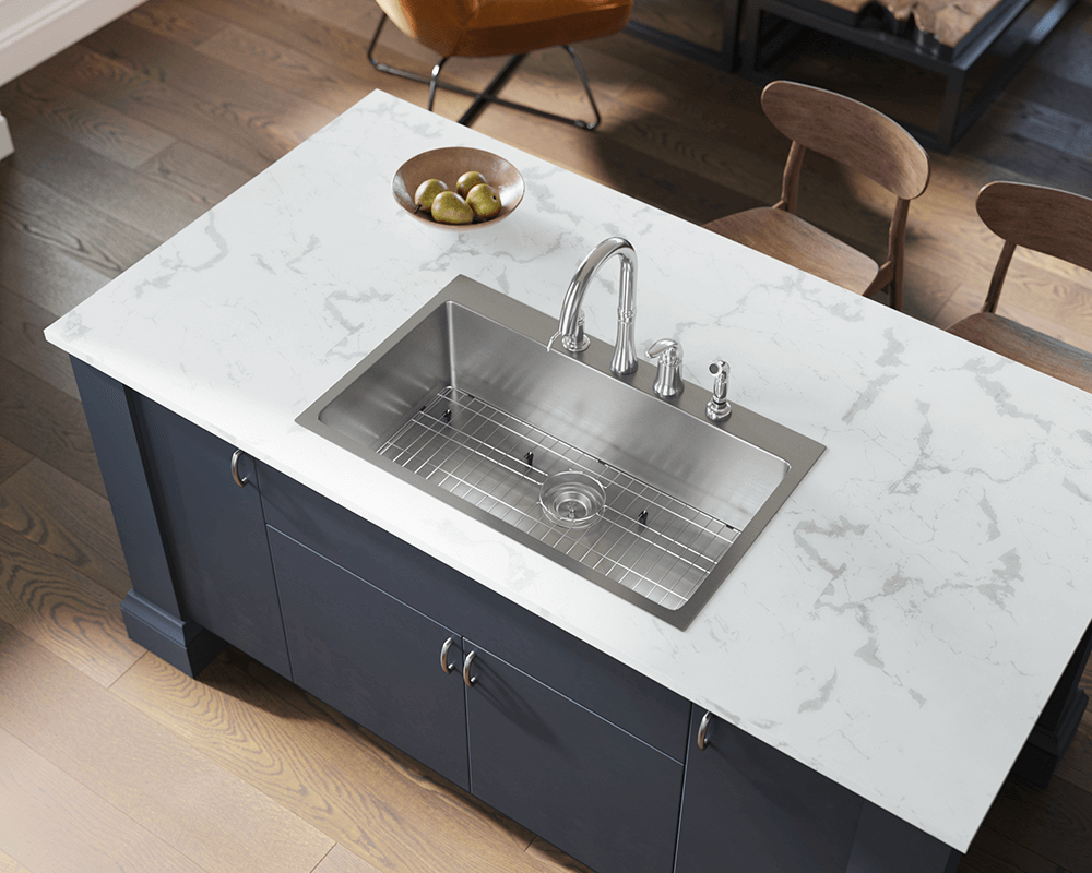 T3120S Lifestyle Image: 304-Grade Stainless Steel Rectangle One Bowl Topmount Kitchen Sink
