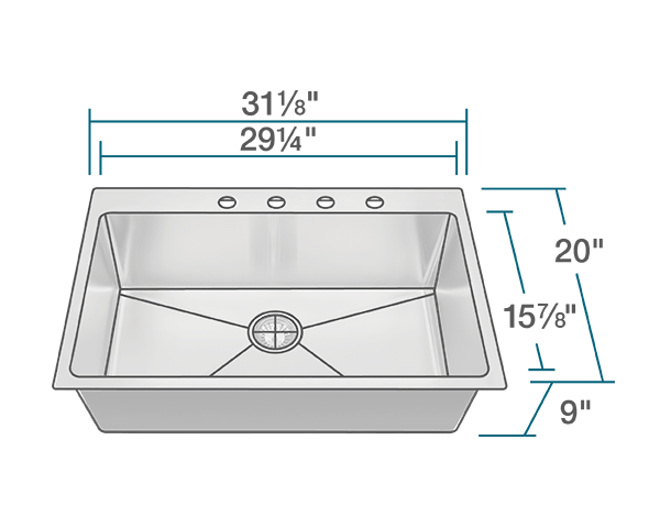 "The dimensions of T3120S Topmount 3/4"" Radius Stainless Steel Sink is 31 1/8"" x 20"" x 9"". Its minimum cabinet size is 33""."
