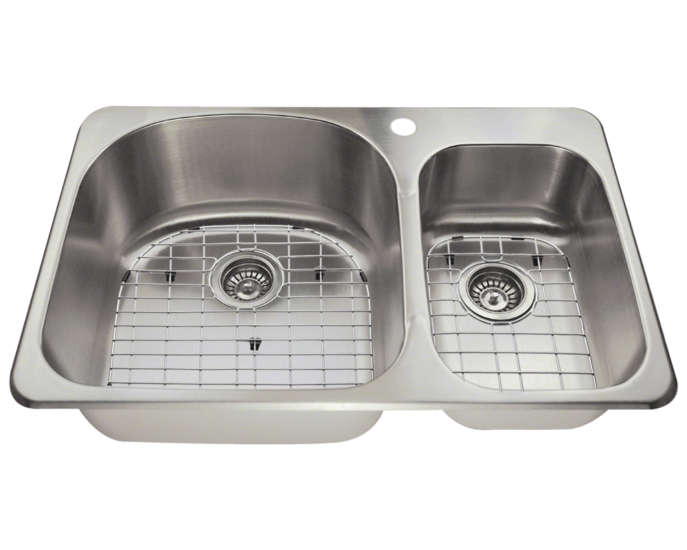 T3121L Alt Image: 304-Grade Stainless Steel Topmount Limited Lifetime Two Bowls Kitchen Sink