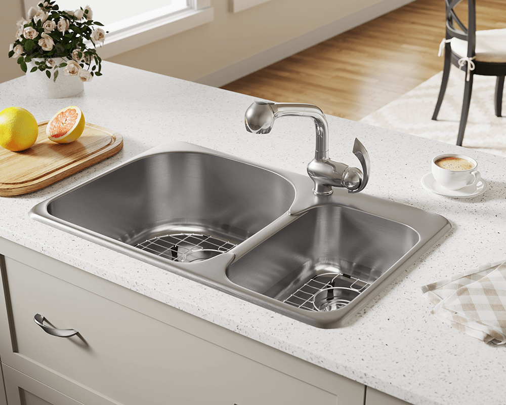 T3121L Lifestyle Image: 304-Grade Stainless Steel Topmount Two Bowls Limited Lifetime Kitchen Sink