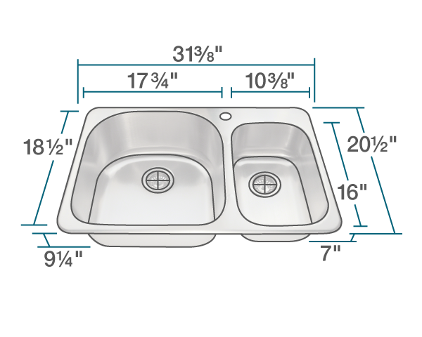 "The dimensions of T3121L Topmount Offset Kitchen Sink is 31 3/8"" x 20 1/2"" x 9 1/4"". Its minimum cabinet size is 33""."