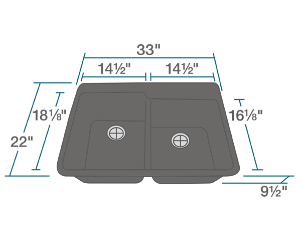 "The dimensions of T801-Black Double Offset Bowl Topmount TruGranite Sink is 33"" x 22"" x 9 1/2"". Its minimum cabinet size is 33""."