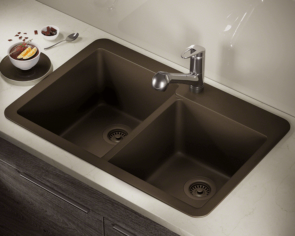 T801-Mocha Lifestyle Image: 80% Quartz 20% Acrylic Rectangle Topmount Mocha Kitchen Sink