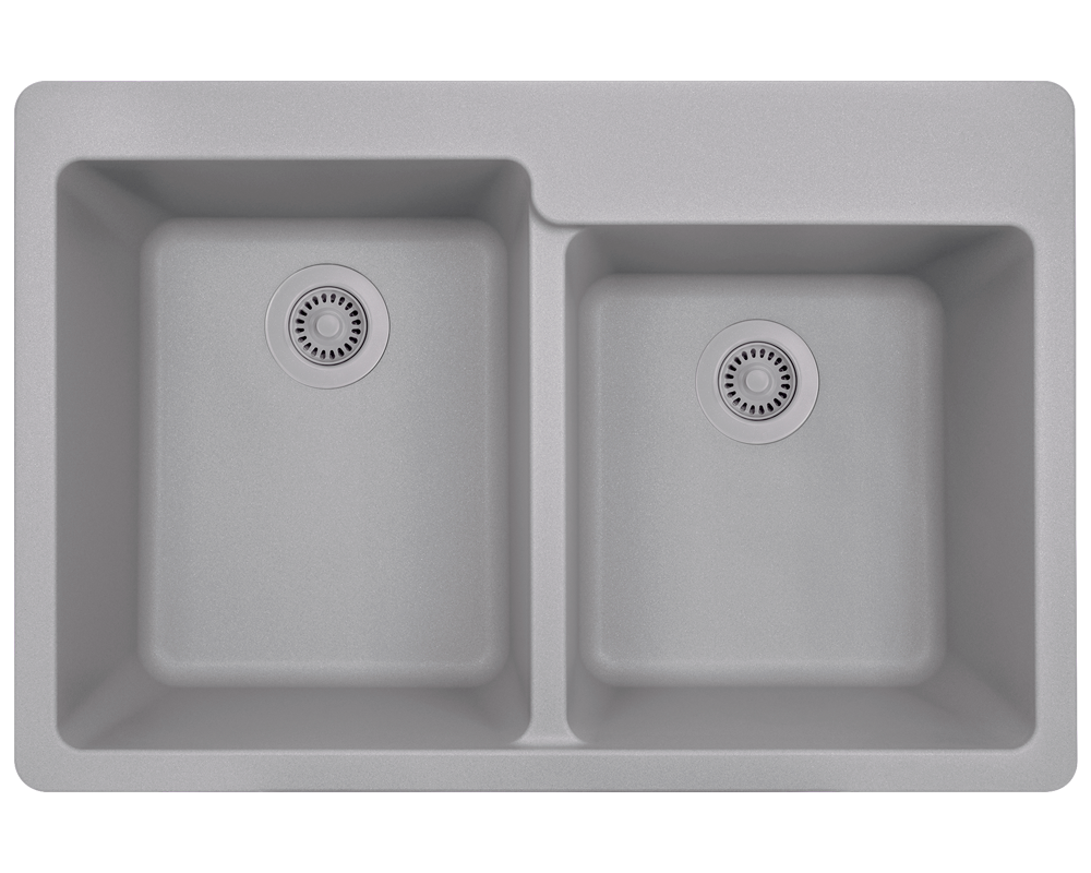 T801-Silver Alt Image: 80% Quartz 20% Acrylic Rectangle Topmount Silver Kitchen Sink