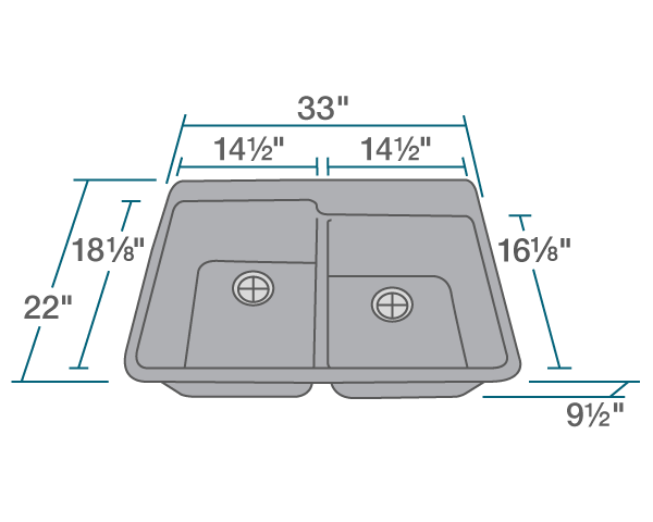 "The dimensions of T801-Silver Double Offset Bowl Topmount TruGranite Sink is 33"" x 22"" x 9 1/2"". Its minimum cabinet size is 33""."