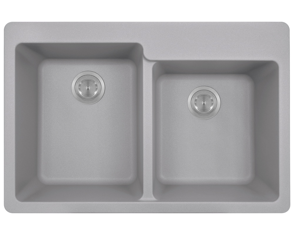 MR Direct T801-Silver Double Offset Bowl Topmount TruGranite Sink
