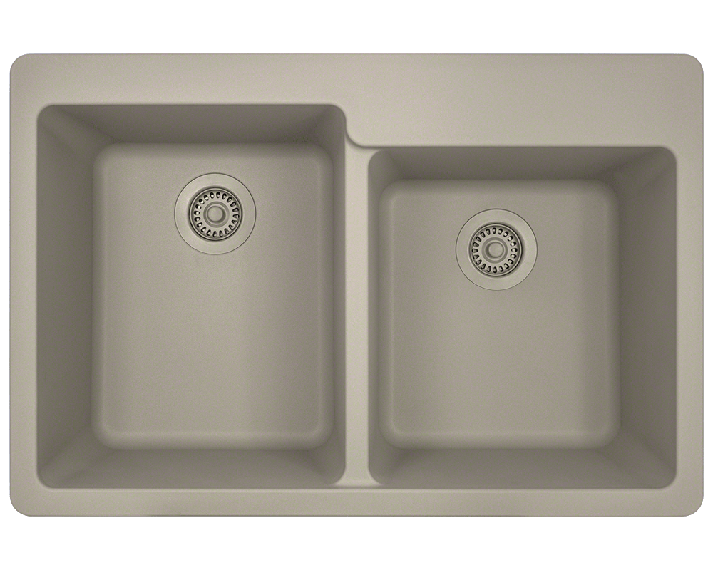 T801-Slate Alt Image: 80% Quartz 20% Acrylic Rectangle Topmount Slate Kitchen Sink