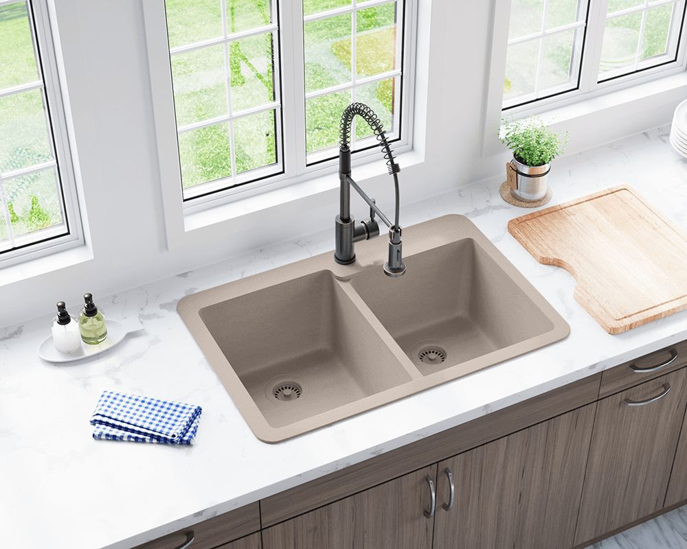 T801-Slate Lifestyle Image: 80% Quartz 20% Acrylic Rectangle Topmount Slate Kitchen Sink