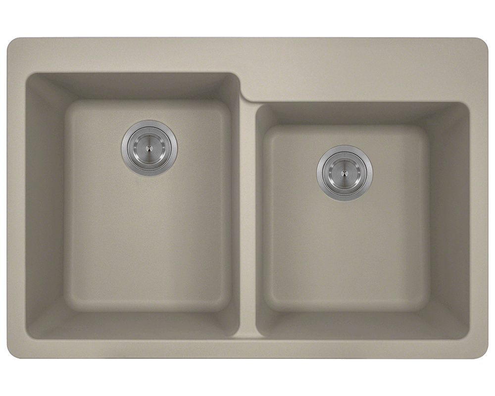 MR Direct T801-Slate Double Offset Bowl Topmount TruGranite Sink