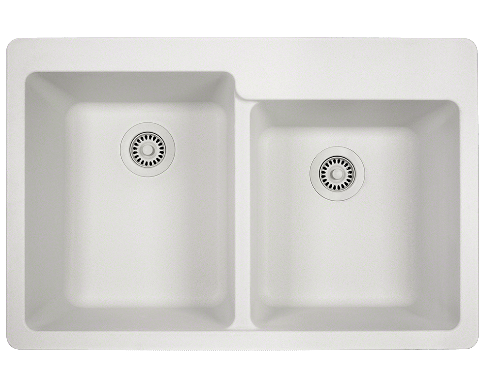 T801-White Alt Image: 80% Quartz 20% Acrylic Rectangle Topmount White Kitchen Sink