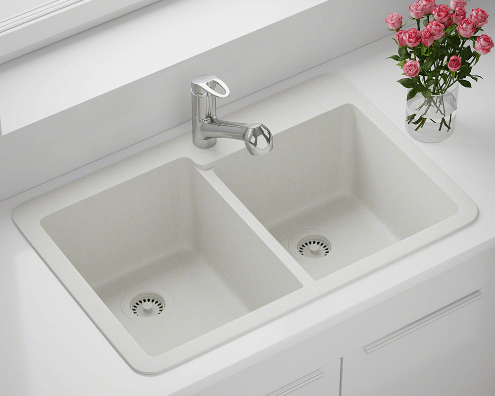 T801-White Lifestyle Image: 80% Quartz 20% Acrylic Rectangle Topmount White Kitchen Sink