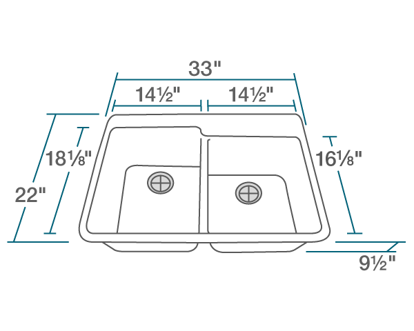 "The dimensions of T801-White Double Offset Bowl Topmount TruGranite Sink is 33"" x 22"" x 9 1/2"". Its minimum cabinet size is 33""."