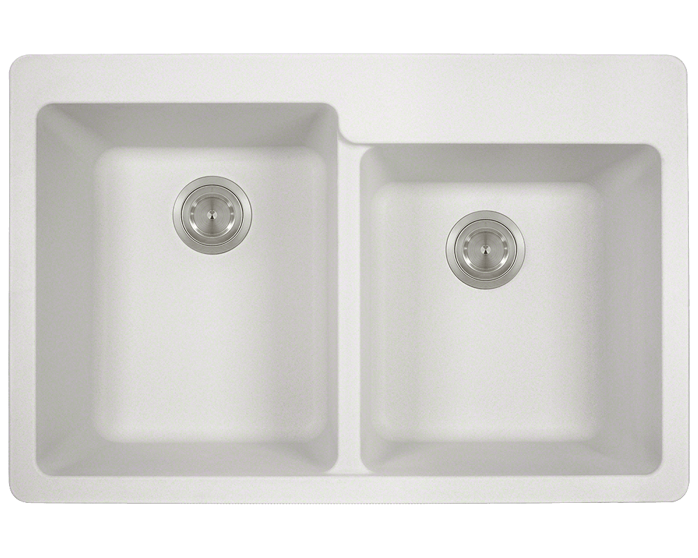 MR Direct T801-White Double Offset Bowl Topmount TruGranite Sink