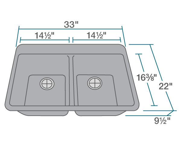 "The dimensions of T802-Silver Double Equal Bowl Topmount TruGranite Sink is 33"" x 22"" x 9 1/2"". Its minimum cabinet size is 33""."