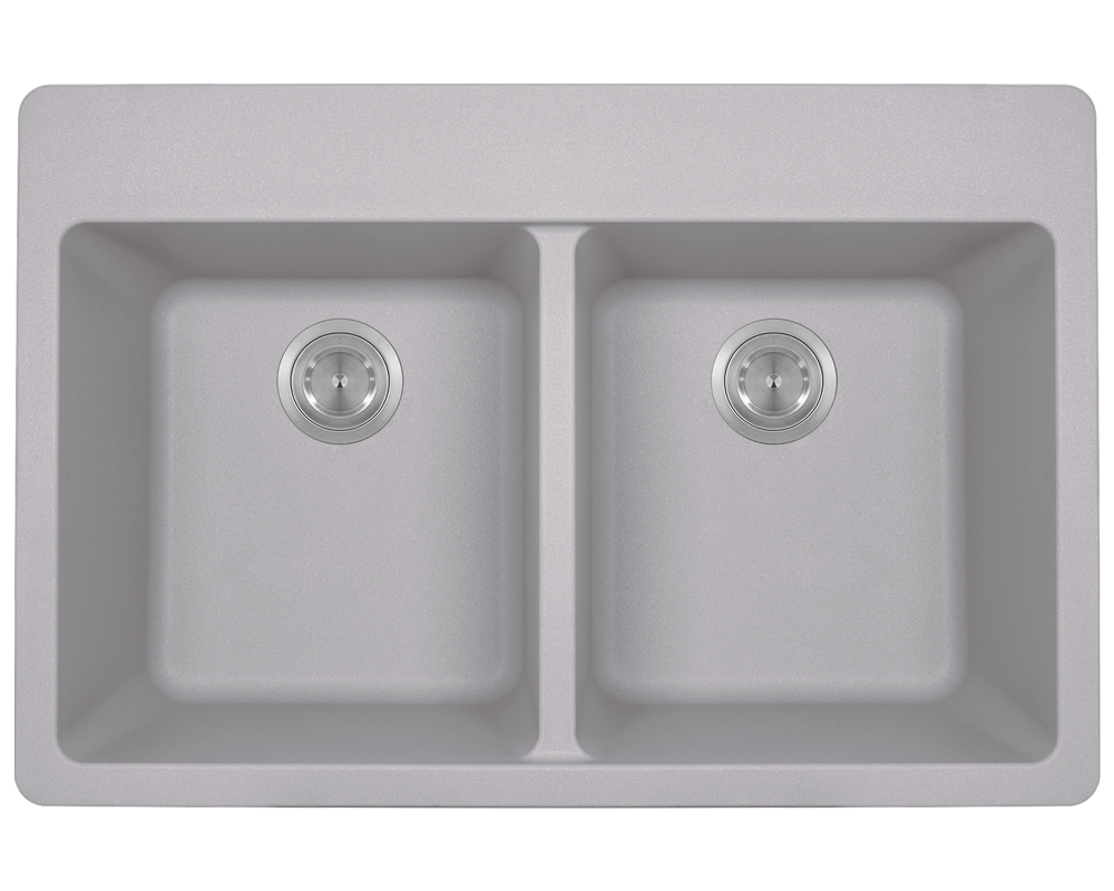 MR Direct T802-Silver Double Equal Bowl Topmount TruGranite Sink
